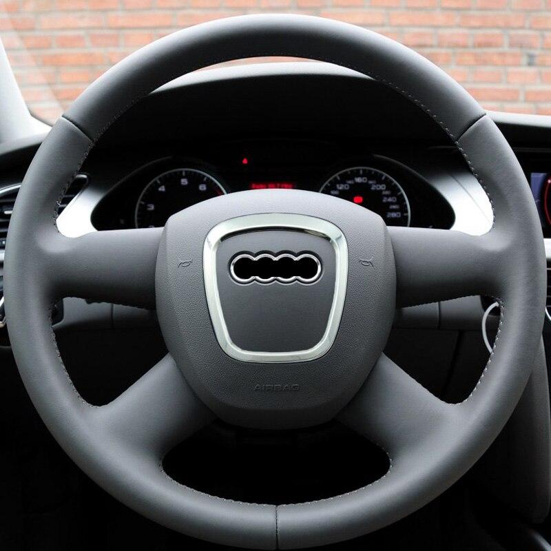 Переоборудование хромированная накладка на руль Наклейка эмблемы декоративная рамка Крышка Блестки наклейка аксессуары для Audi A4 A5 A6 Q5 Q7
