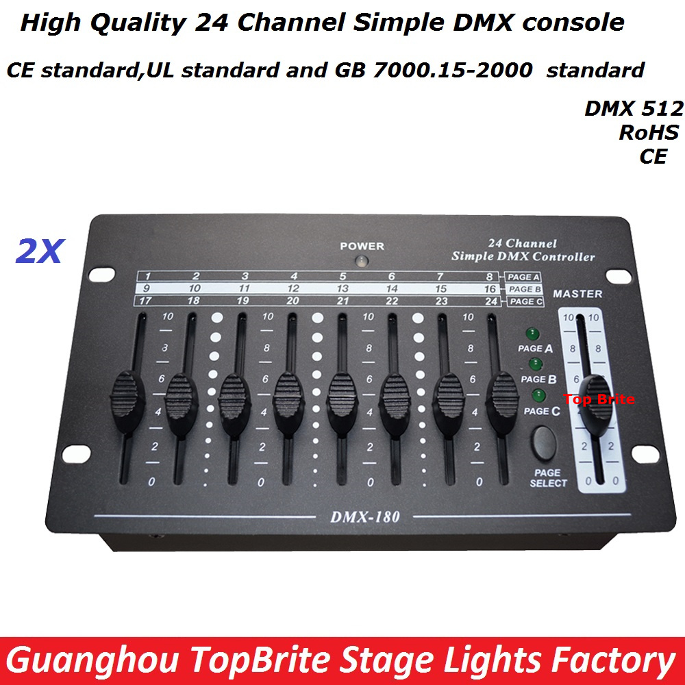 ФОТО 2XLot NEW 24 Channel Simple DMX Console DMX 512 Controller Professional DJ Disco Controller Equipment For Led Moving Head Lights