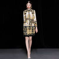 2018 autumn new style European and American women's Baroque style retro printing Lapel long sleeved Pleated Dress