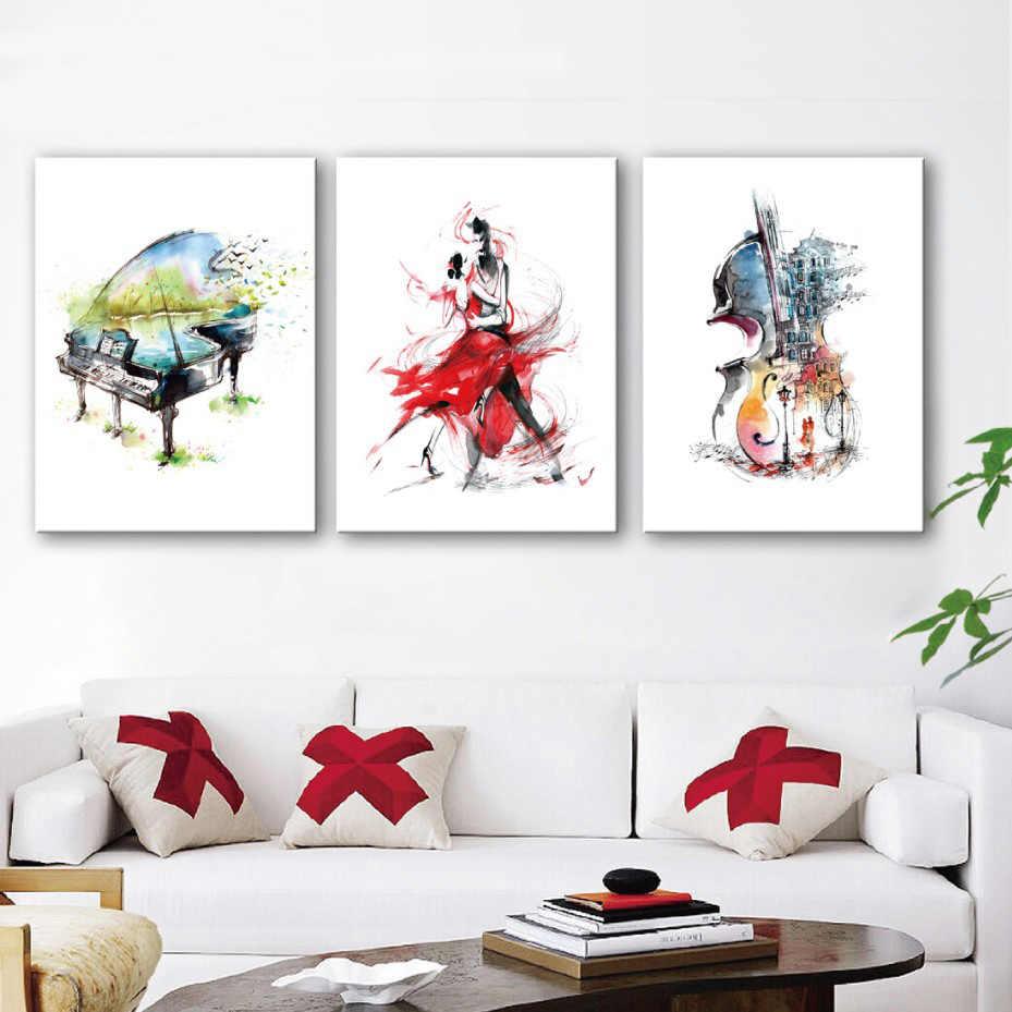 บทคัดย่อภาพวาดผ้าใบ Hd พิมพ์สีน้ำ Waltz Dance โปสเตอร์เปียโน Cello Wall Art รูปภาพสำหรับห้องนั่งเล่นตกแต่งบ้าน