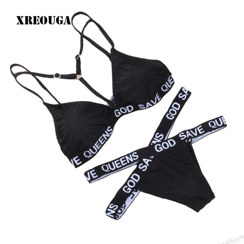 X-tipo Delle Donne Costume Da Bagno della Fasciatura GOD SAVE QUEENS Lettera Stampato Bikini Sexy Delle Donne Attivo Costume Da Bagno Bad Girl Biquini Bikini Set