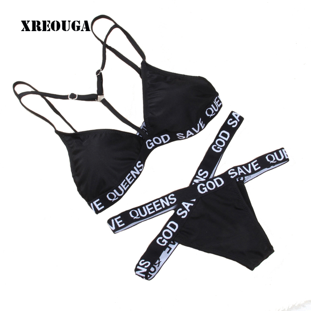 e47229cc50 X-type Women Swimsuit Bandage GOD SAVE QUEENS Letter Printed Bikinis Women  Sexy Active Bathing Suit Bad Girl Biquini Bikini Set