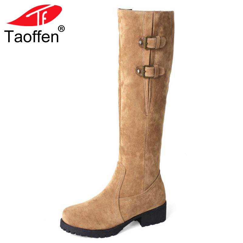 TAOFFEN Size Big 33-44 Shoes Women Knee Snow Boots Metal Buckle High Heel Boots Thick Fur Shoes Winter Long Boots Women Footwear faux fur buckle knee high snow boots
