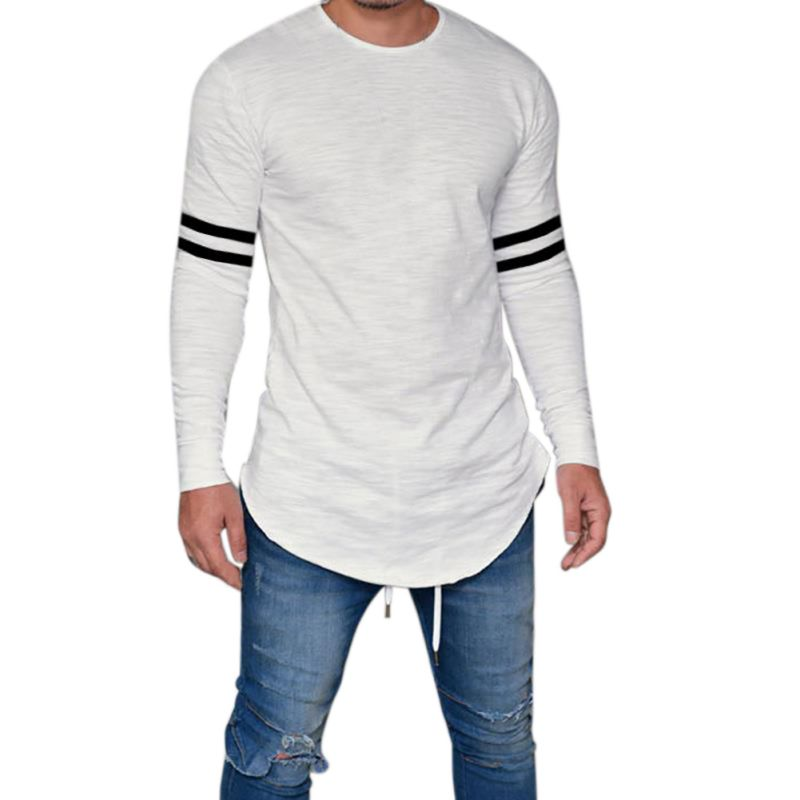 Men Slim Fit O Neck Autumn Stripe Printed T Shirt Men ...