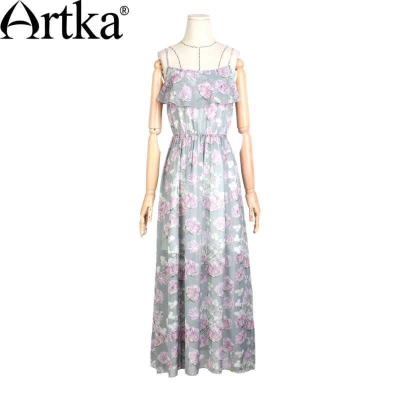 ARTKA נשים של הקיץ החדש פרחוני מודפס שיפון ספגטי רצועת שמלת אימפריה מותן קרסול-אורך שמלה עם קפלי LA11060X