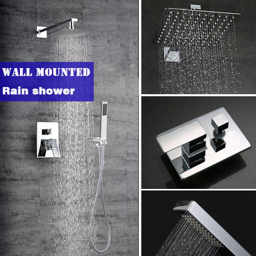 Bathroom wall mounted rain shower set brass material mixer shower faucet with 10 inch ultrathin 304# stainless steel shower head brass thermostatic mixer valve shower set mixer faucet two handle wall mount shower kit stainless steel 10 rainfall showerhead