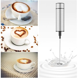 1 Set Electric Milk Frothers Stainless Steel Whisk Hand Milk Foamer Kitchen Mixer for Coffee Cake Egg Beater Drinks Blender