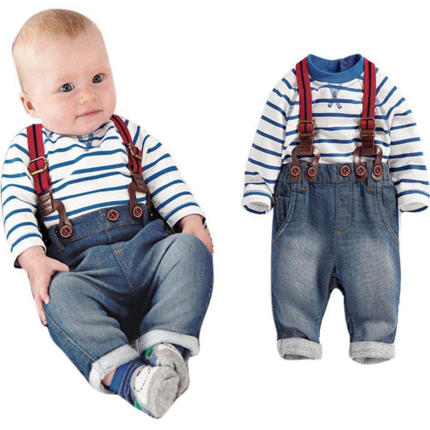 2018 Toddler Baby Boys Long Sleeve Striped T-Shirts + Jean Bib Pants Outfits 1Set Comfortable And Breathable 5.23