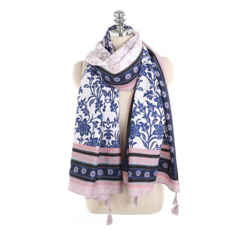 Ethnic Chinese Thin Cotton Scarf Women Youth Ladies Scarf Printed Blue and White Floral Shawl & Wrap Scarves Big Size <font><b>190*90</b></font> cm image