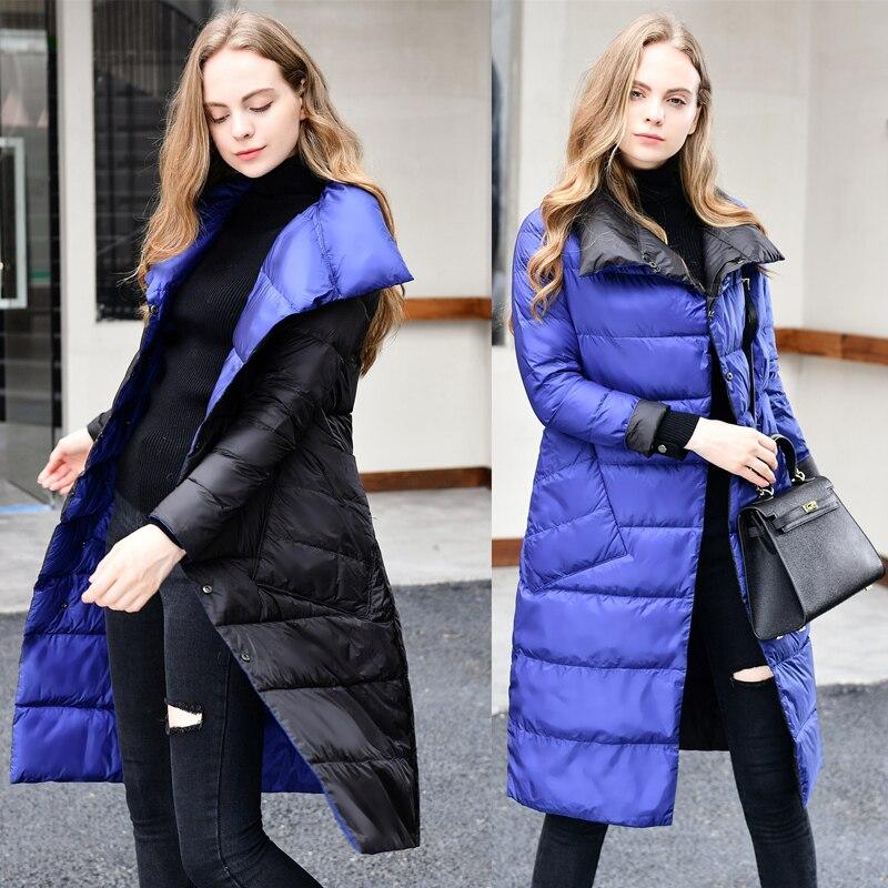Veste 3 Nouvelle Mode Grand 2018 bleu Femmes S Royal Poches Les Deux 3xl Couleurs Porter Arrivée Noir Sur Moyen or long Hiver Côtés wqxq7YTvnr