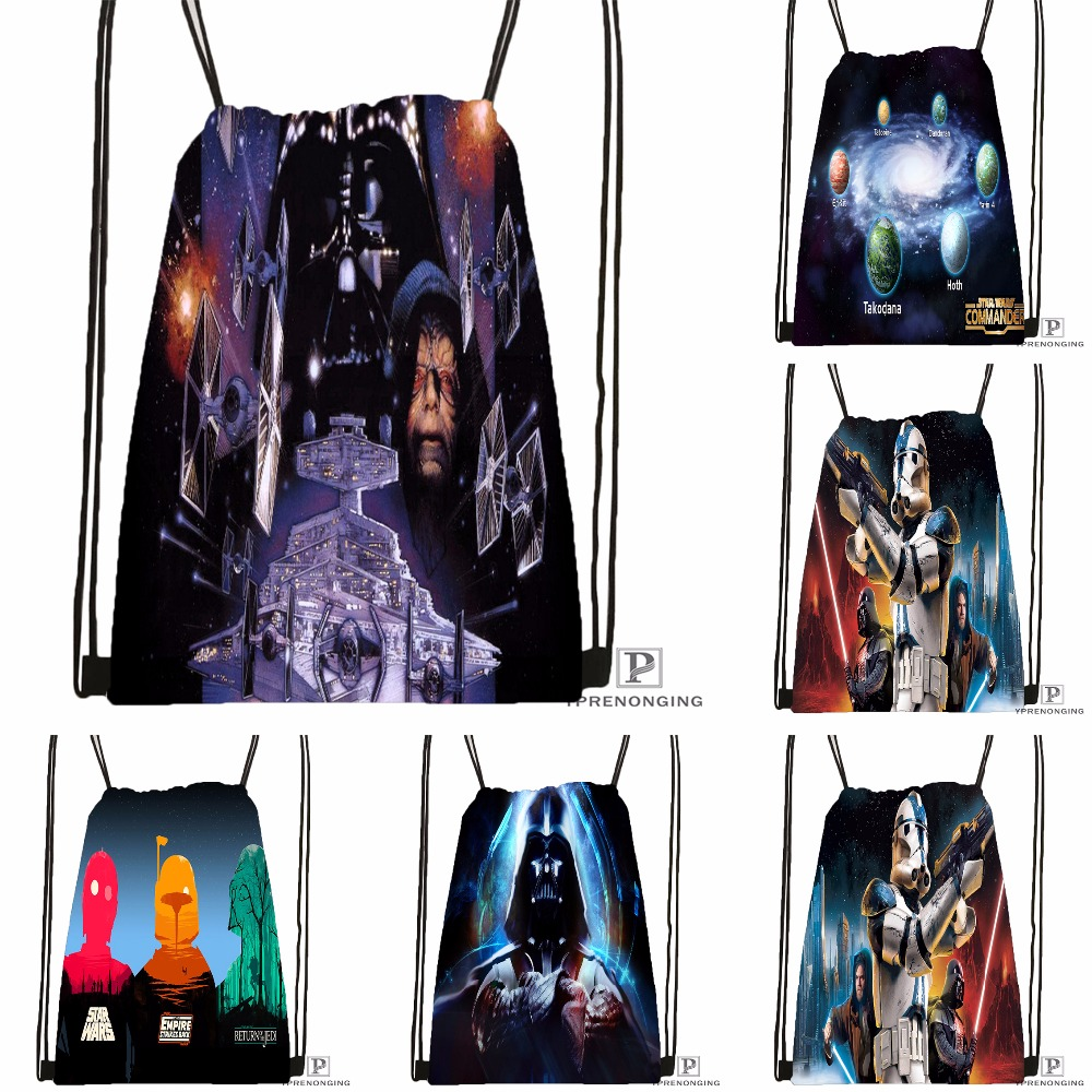 Custom Star Wars Drawstring Backpack Bag Cute Daypack Kids Satchel (Black Back) 31x40cm#180531-02-52
