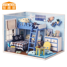 Assemble DIY Wooden House Miniaturas with Furniture DIY Miniature House Dollhouse Toys for Children Christmas and Birthday H05