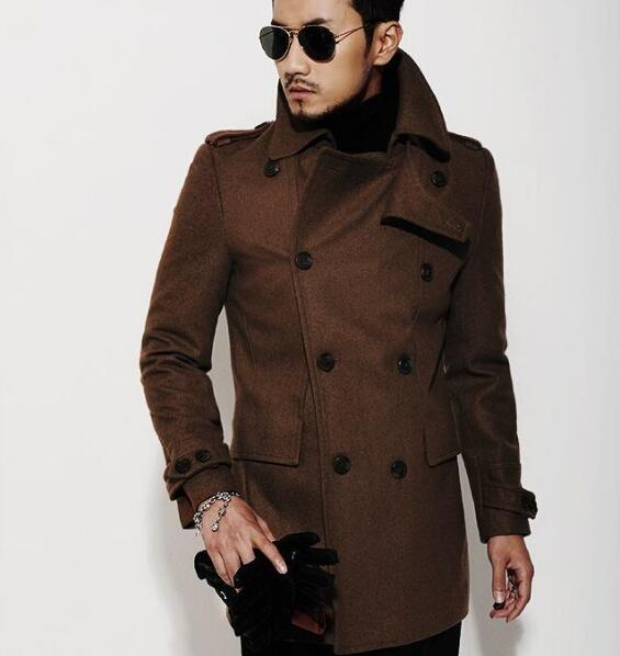 Brown 2018 new autumn winter double breasted wool coat men fit slim mens pea coat woolen jacket handsome coats cashmere S - 3XL men s slim fit splicing pullover double breasted hoodie
