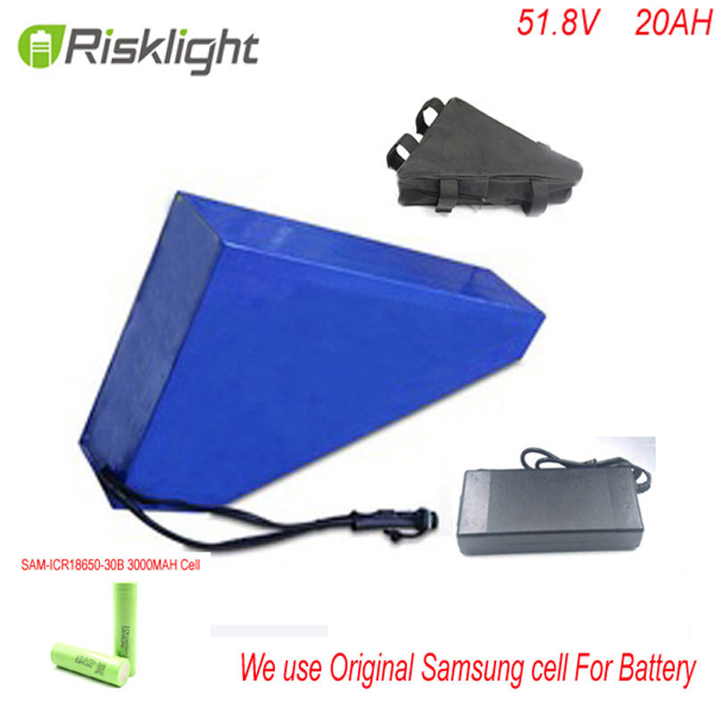 1500W Triangle battery 51.8V 20Ah li-ion battery 52V 20Ah Electric Bike Battery With 30A BMS 58.8V 2A Charger For Samsung cell high quality e bike triangle battery 36v 20ah li ion battery pack for 36v 1000w 500w 8fun bafang moto kit with charger bag bms