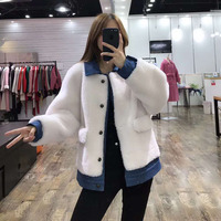 2019 new fashion korean sheep fur coat parka real price women clothes winter Jean jacket with turn down collar wool fur overcoat
