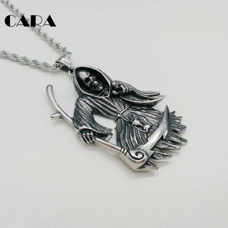 2019 New Gothetic Punk Grim Reaper pendant necklace 316L stainless steel cloaked death pendant necklace fashion men CARA0298 in Pendant Necklaces from Jewelry Accessories