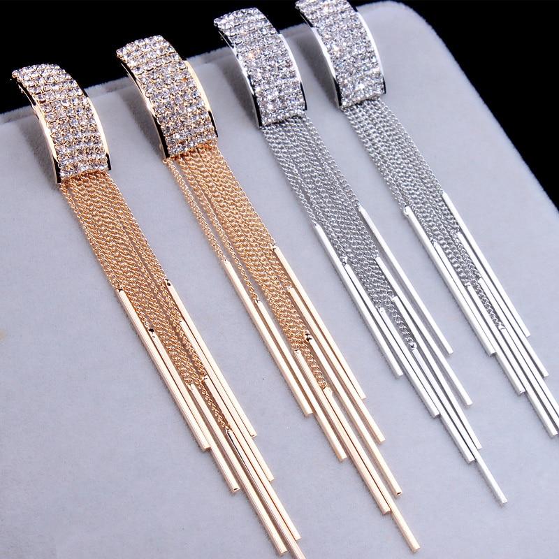Uus kuldne värv pikk kristalli varrukatega kõrvarõngad naiste - Mood ehteid - Foto 3