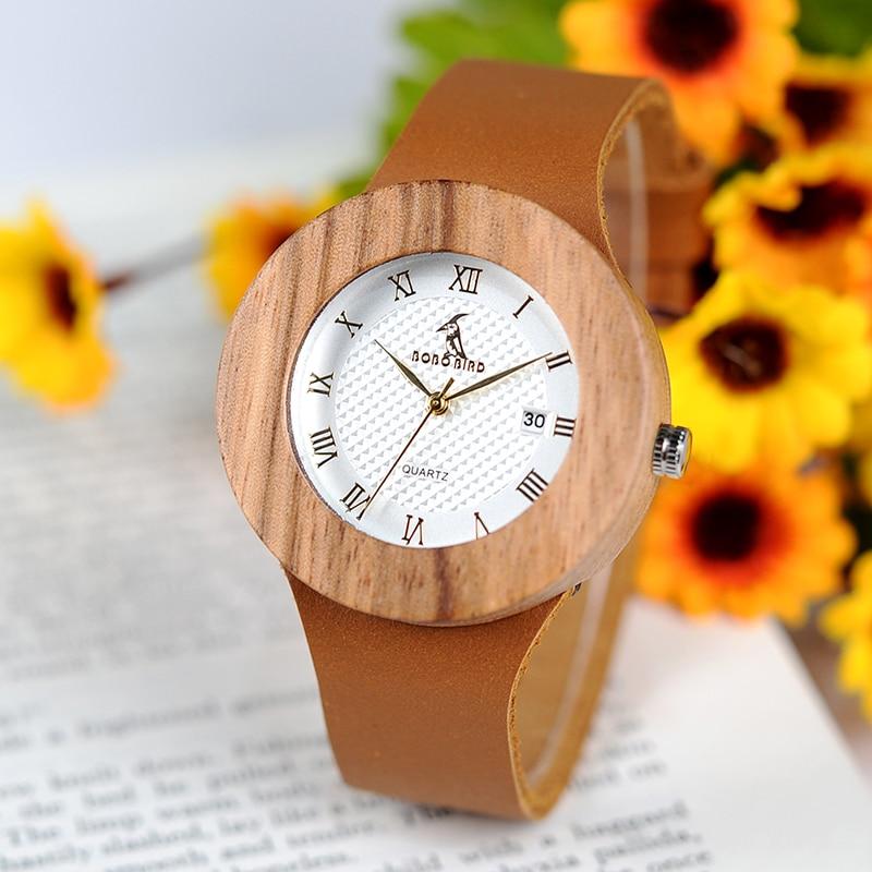 BOBO BIRD Womens Vintage Wooden Watches 리얼 가죽 스트랩 - 여성 시계