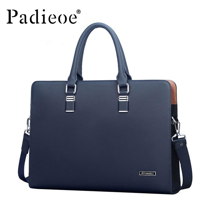 Padieoe Briefcases Men Handbag Laptop-Bags Business Real-Cow-Leather Luxury Totes Shoulder