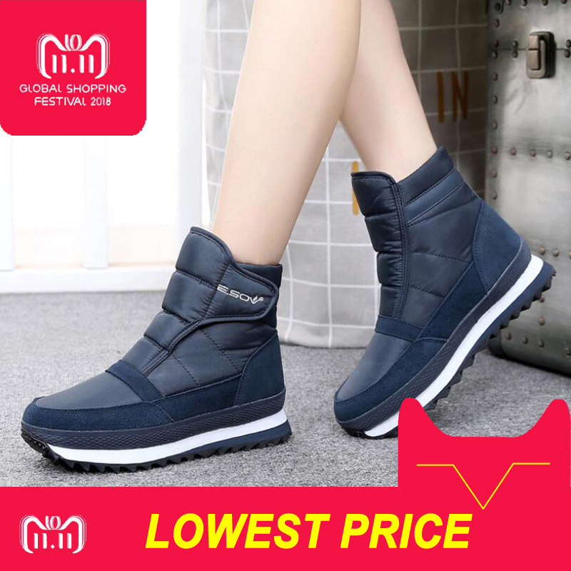 2018 winter women snow boots flat non-slip winter shoes women plush waterproof ankle boots warm winter boots big size 35-42 2017 women winter boots shoes snow boots blue warm snow boots down plus size 35 42 non slip platform winter boots shoes xz 29
