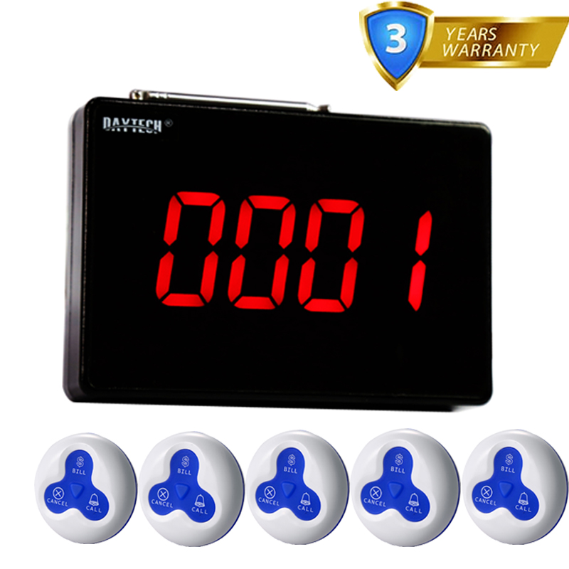 DAYTECH Wireless Restaurant Calling Pager Queue System 1PCS Panel Display 5 PCS Waterproof Wireless Call Buzzer Button 433MHZDAYTECH Wireless Restaurant Calling Pager Queue System 1PCS Panel Display 5 PCS Waterproof Wireless Call Buzzer Button 433MHZ