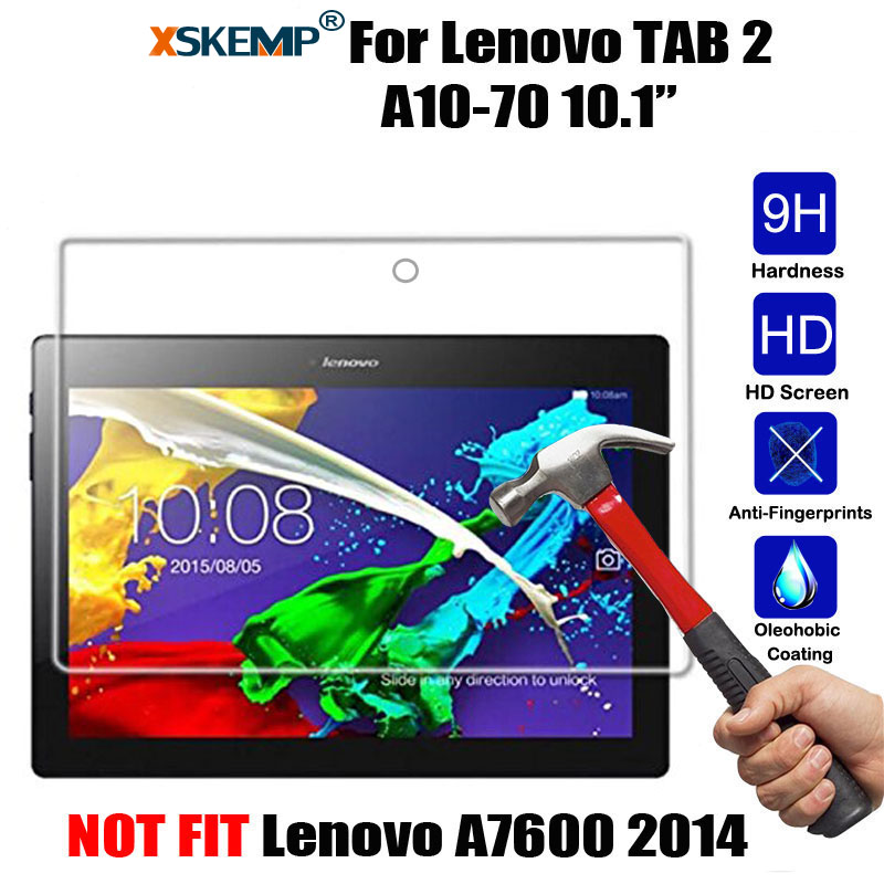 XSKEMP 9H Real Tempered Glass For Lenovo Tab 2 10.1 (A10-70F A10-70LC 2016) 0.3mm Tablet Screen Protector Protective Film Guard xskemp tablet screen protector film tablet for samsung galaxy tab 4 7 0 t230 t231 t235 9h real tempered glass protective guard