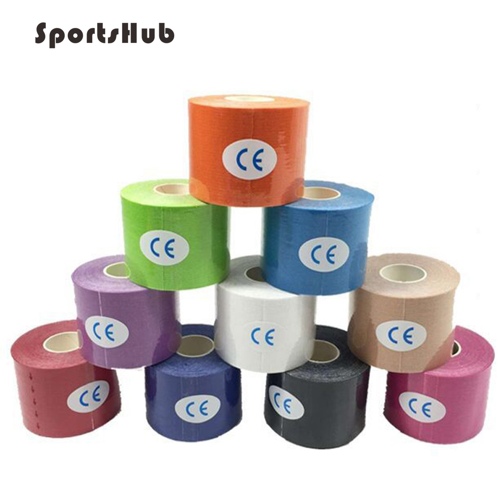 5m Elastic Bandage Cotton Adhesive Tape <font><b>Sport</b></font> <font><b>Injury</b></font> Muscle Strain Protection Tapes Taping NR0128 image