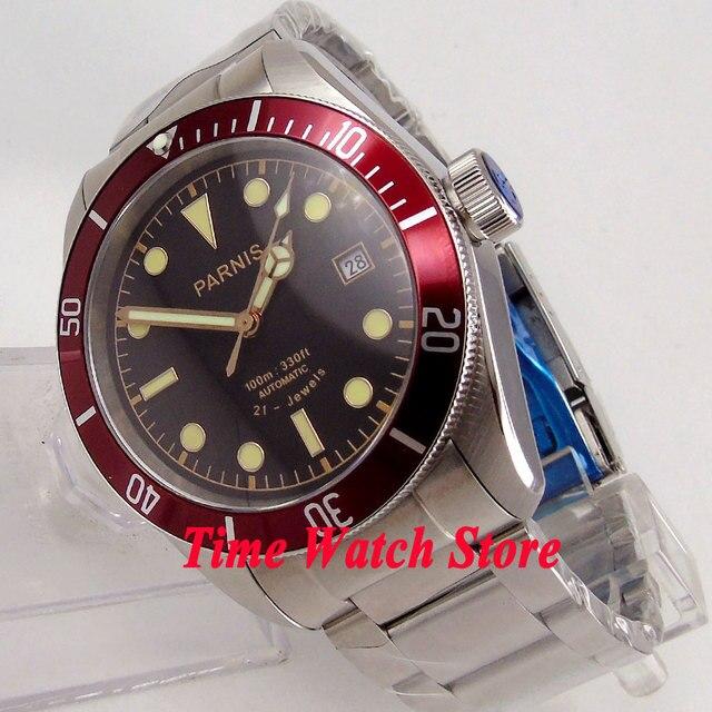 41mm PARNIS herrenuhr saphirglas zifferblatt schwarz armband 21 juwelen MIYOTA Automatische bewegung wirst uhr 1005