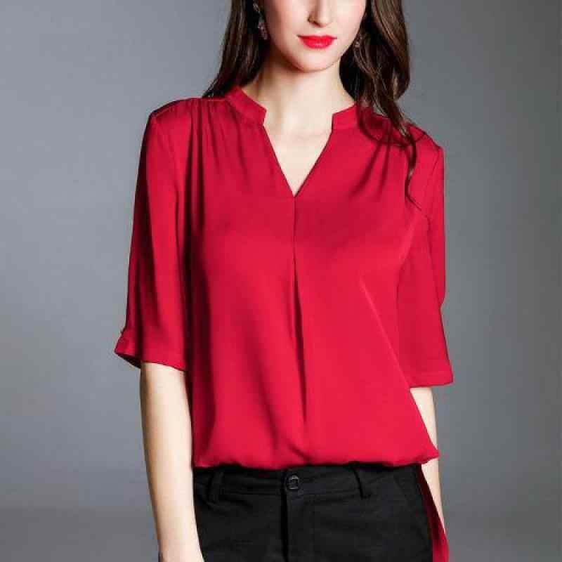 Большие размеры 4xl Свободная Женская Однотонная рубашка с v-образным вырезом и коротким рукавом, однотонные повседневные дешевые рубашки, Летняя женская одежда в Корейском стиле 2019