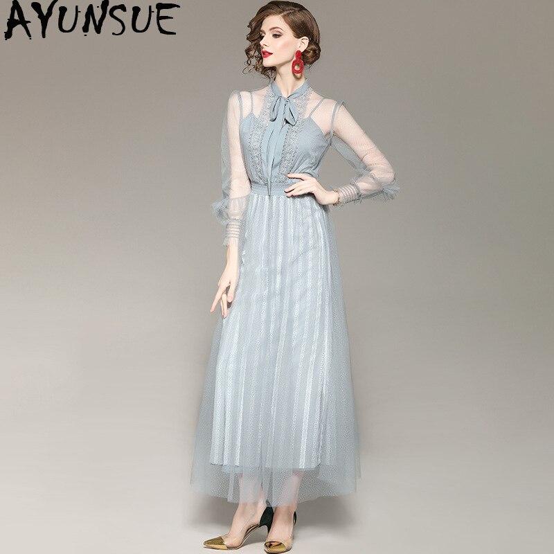 2019 printemps été robe pour femmes maille longue Maxi robe élégante fête plage dentelle femmes robes coréennes Vestidos Mujer KJ1816