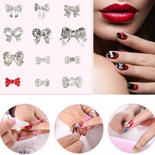 10PCS Silver Bow Tie Nail Alloy + Crystal AB Rhinestones Tiny Bow Glitter Charm 3D Nail Jewelry Nail Art Decorations Mlll153-170 цены