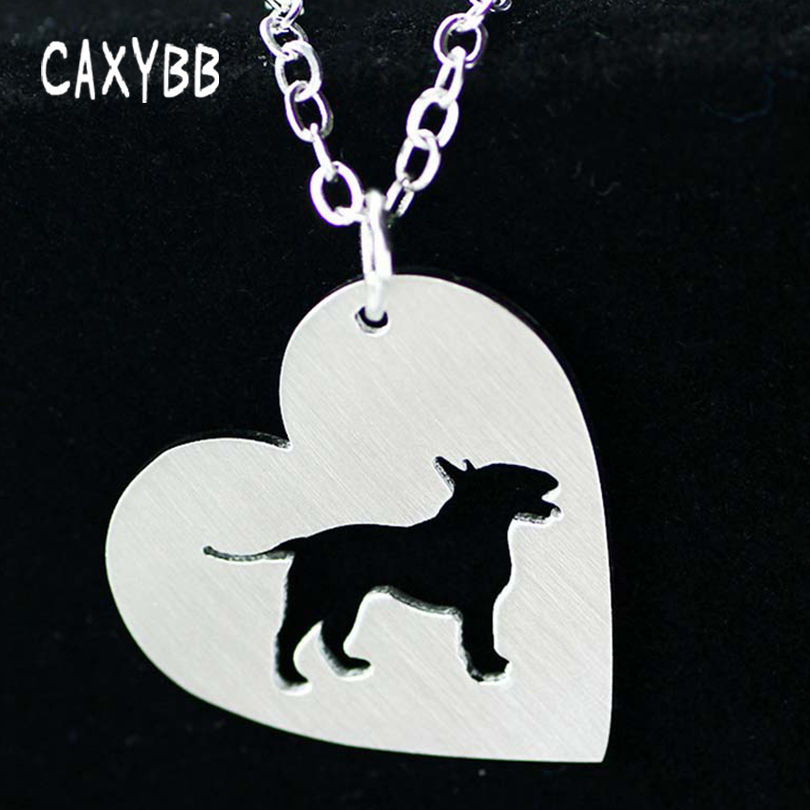 Fshion Silver 1pc stainless steel Necklace Heart shaped cute dog Dog Necklace Breed Memorial Gift Family Pet for lovers image