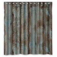 スタイリッシュなリビング古典文化納屋木材カスタムシャワーカーテン100%ポリエステル防水浴室の装飾シャワーカーテン