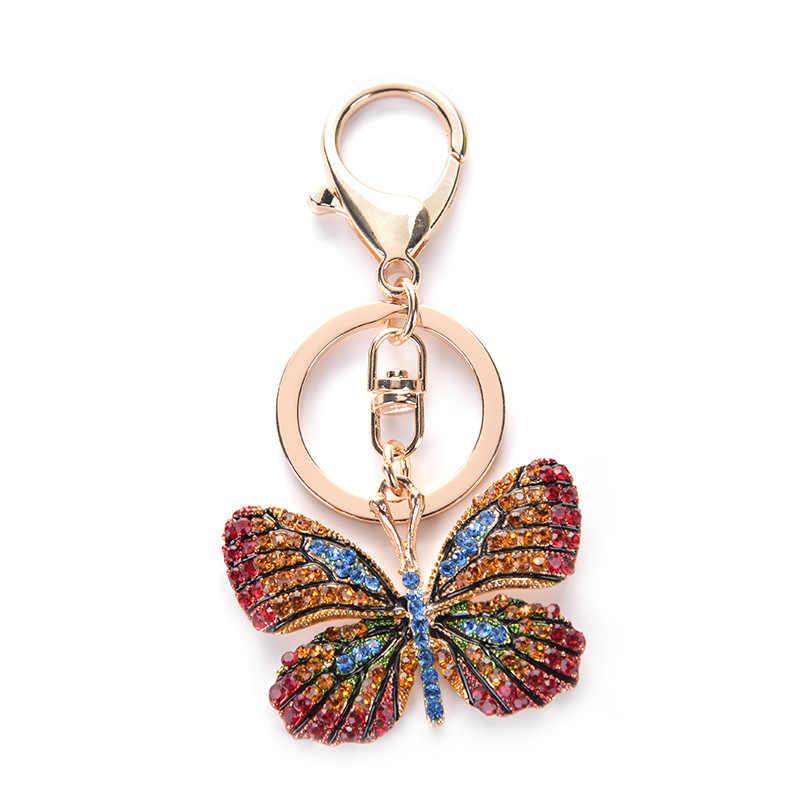 Đẹp Bướm Keychain Lấp Lánh Đầy Đủ Rhinestone Hợp Kim Key Chain Đối Với Phụ Nữ Cô Gái Túi Xe Phụ Kiện Thời Trang Vòng Chìa Khóa