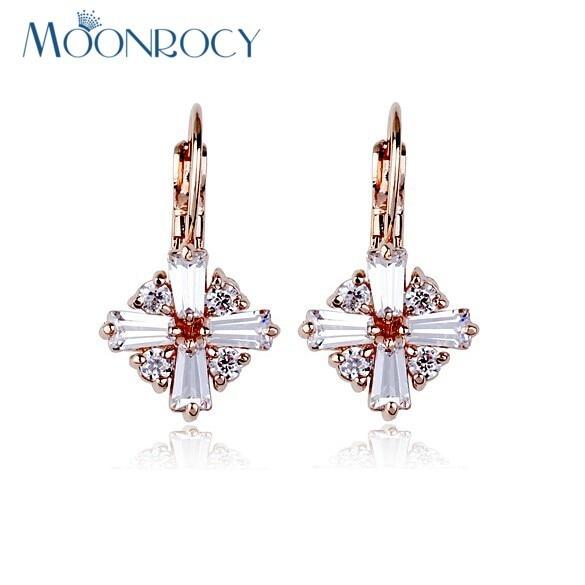 212113168d40 MOONROCY envío de La Manera Zirconia Color Crystal Pendiente de La Manera  de Oro Rosa de piedra Zirconia para Las Mujeres Regalo