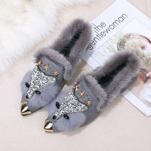 2018 Winter Womens Shoes Warm Plus Velvet Thickened Mao Women Wear New Korean Flat Bean Long Hair Yasilaiya