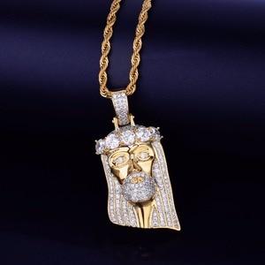 Image 3 - Ледяная религиозная подвеска «Иисус», кулон на голову, ожерелье с бесплатной веревочной цепочкой золотого цвета с блестящим кубическим цирконием, мужские ювелирные изделия в стиле хип хоп для подарка