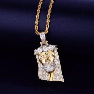 Image 3 - אייס דתי ישו ראש תליון שרשרת משלוח חבל שרשרת זהב צבע בלינג מעוקב זירקון גברים של היפ הופ תכשיטי עבור מתנה