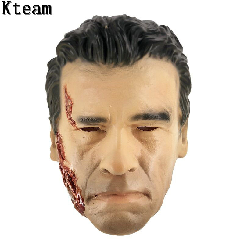 2019 Realistic Arnold Schwarzenegger Face Head Mask Halloween Party Cosplay Latex Robot Terminator Mask Crossdress Mask Fancy