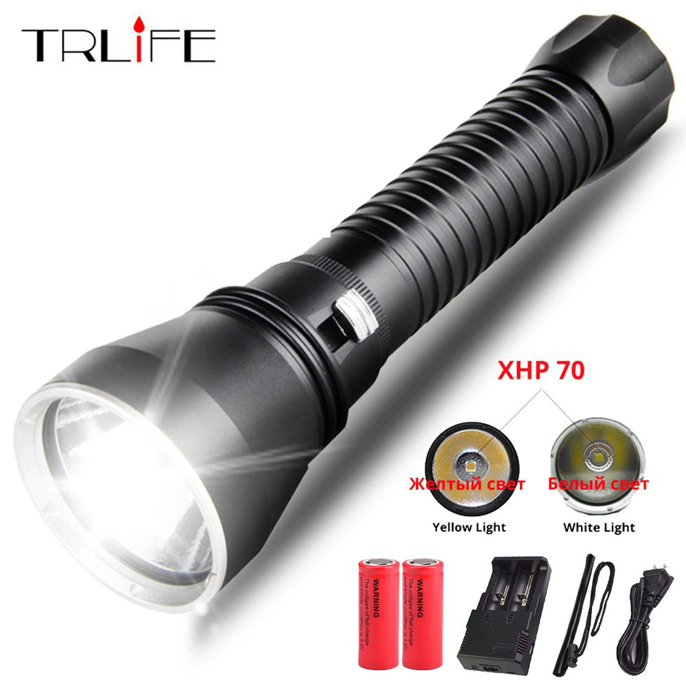 XHP70 LED Yellow/White Light 6200 Lumens Diving Flashlight For diving Tactical 26650 Torch Underwater 200M Waterproof|LED Flashlights| |  - title=