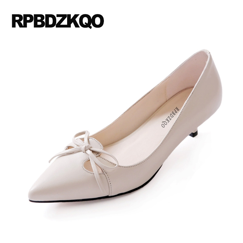 2017 Pumps Kawaii Work Beige Size 33 4 34 High Heels Kitten Bow Ladies Low Shoes Medium Pointed Toe Summer New China Fashion round toe beige strap ladies metal high heels medium chunky modern block slingback size 4 34 sandals shoes 2017 summer pumps new