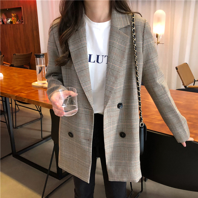 Office Ladies Notched Collar Plaid Women Blazer Double Breasted Autumn Jacket 2020 Casual Pockets Female Suits Coat 4