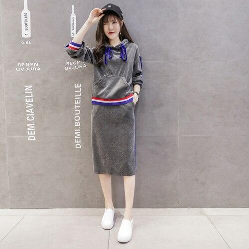 6deb4f49e55 Womens Two Piece Sets 2017 Winter Vintage Velvet Casual Striped Hoodie Midi  Skirt Tracksuit Clothing Set conjunto feminino S71