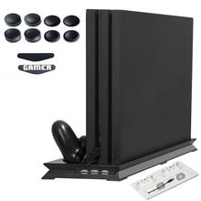 PS4 PRO Isı Emici Bankası Soğutma Fanı Dikey Şarj Standı Çift Denetleyici şarj standı için Playstation 4 PS 4 Pro Aksesuarları
