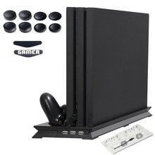 PS4 PRO Koellichaam Base Koelventilator Verticale Charger Stand Dual Controller Opladen Dock voor Playstation 4 PS 4 Pro accessoires