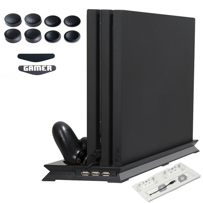 PS4 PRO PS 4 Pro Kühlkörper Lüfter Vertikale Ladegerät Stehen Dual Controller Lade Dock für play station 4 pro Zubehör