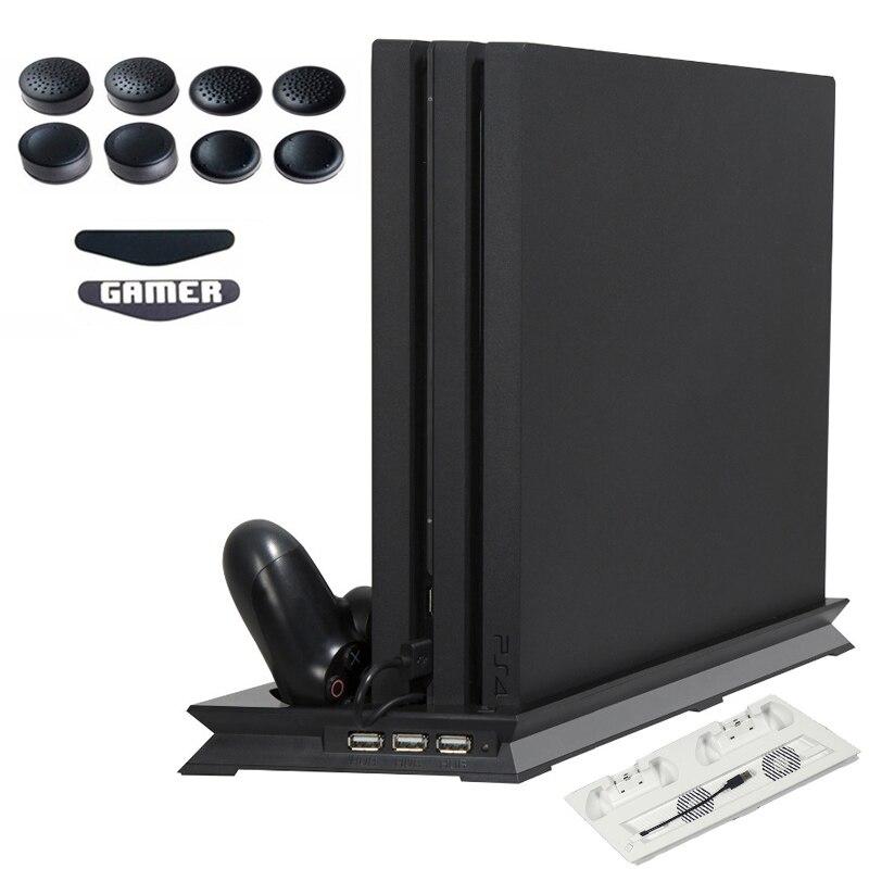 PS4 PRO PS 4 Pro disipador de calor ventilador de refrigeración Vertical cargador de controlador Dual Dock de carga para jugar la Estación 4 pro