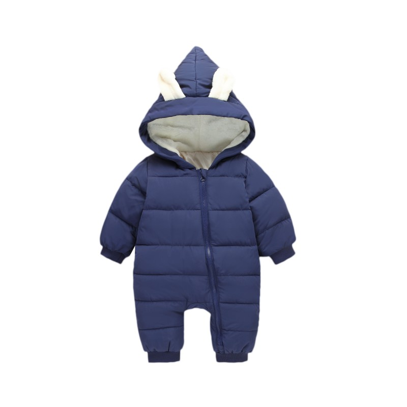2017 Winter Infant Long Sleeve Rompers Newborn Hooded Warm Children Outdoor Rompers Kids Baby Girls Boys Rabbit Ears Jumpsuit