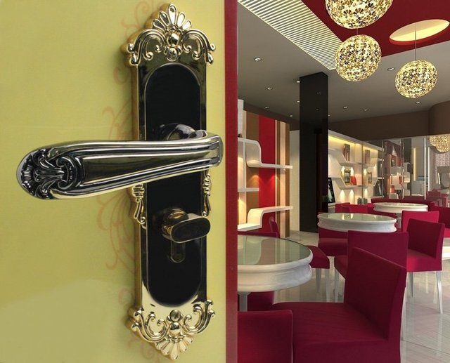 Zinc Alloy Lever Handle door lock Free Shipping (2 pcs/lot)Safe,High-end,Luxurious