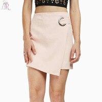 Pembe Gözü Asimetrik Hem Wrap ile Kalem Mini Etek Kadın Yüksek Bel Geri Fermuar Örgün Bodycon Alt Giymek